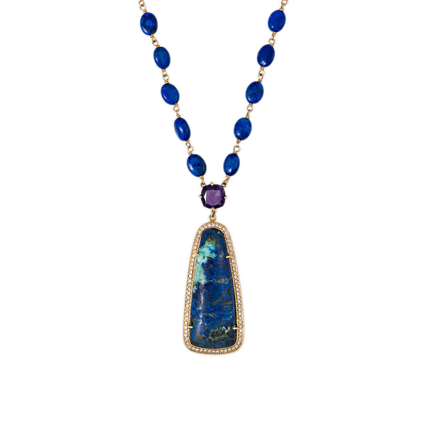 AMETHYST CENTER CHRYSOCOLLA LAPIS BEADED NECKLACE