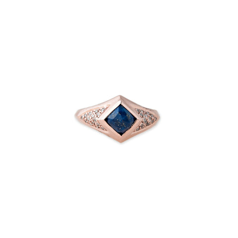 LAPIS SQUARE KITE RING