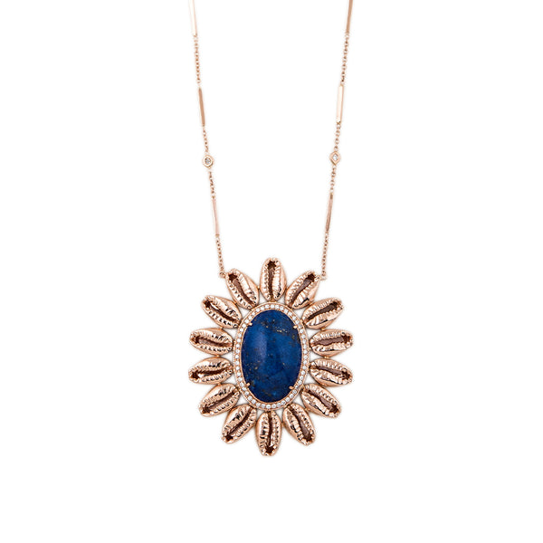 PAVE LAPIS COWRIE SHELL BLOSSOM NECKLACE
