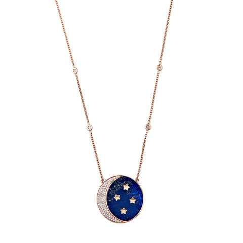 PAVE LAPIS INLAY CRESCENT MOON + STAR NECKLACE