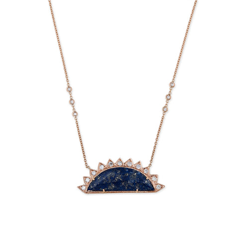 LAPIS PAVE DIAMOND SUN NECKLACE