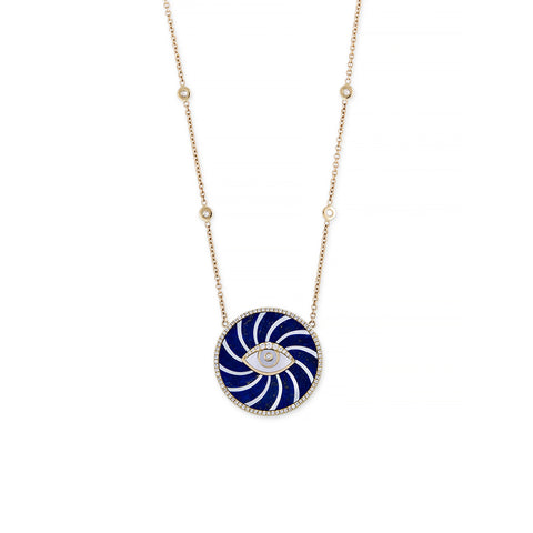 SMALL PAVE LAPIS + MOTHER OF PEARL SWIRL EYE NECKLACE