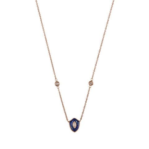 SMALL LAPIS INLAY DIAMOND CENTER SLIM SHIELD NECKLACE