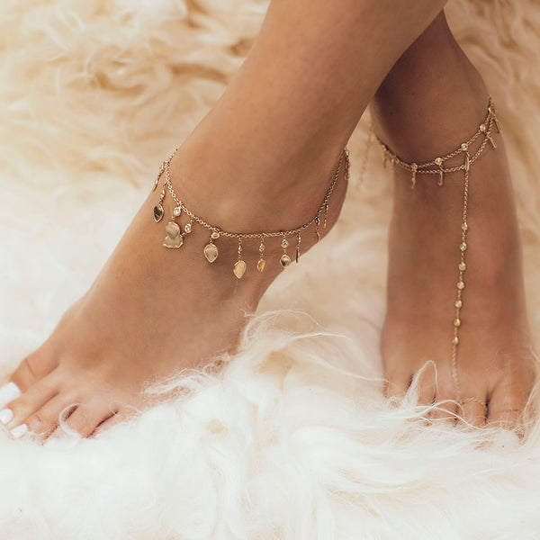 TEARDROP HAMMERED DISC DIAMOND ANKLET