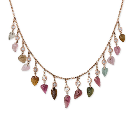 DIAMOND + TOURMALINE LEAF DROP SHAKER NECKLACE