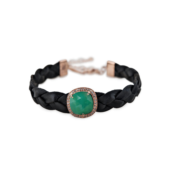 CHRYSOPRASE BLACK BRAIDED LEATHER BRACELET