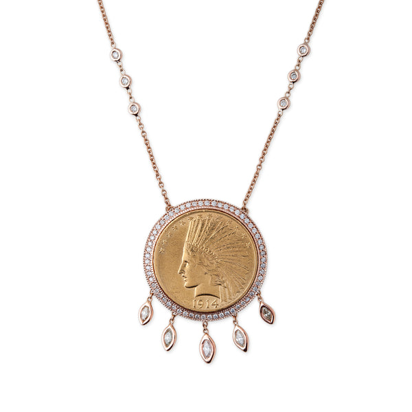 5 MARQUISE DIAMOND + GOLD COIN NECKLACE