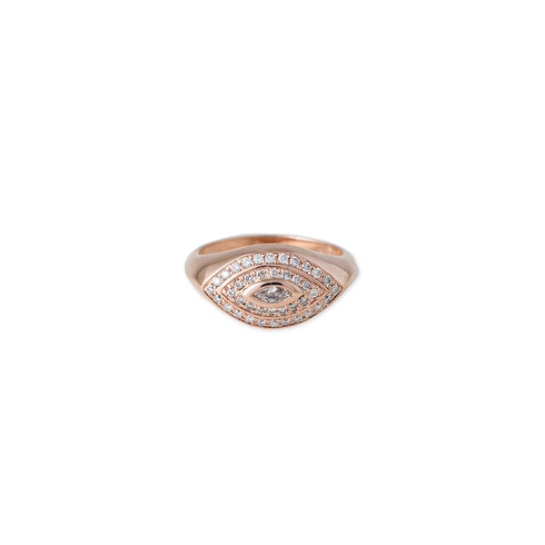 MARQUISE DIAMOND HALO EYE RING