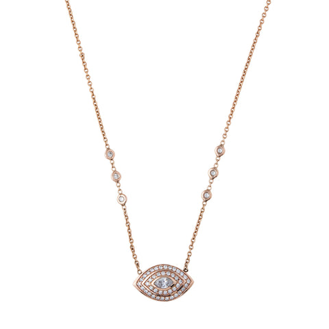 DOUBLE HALO MARQUISE EYE NECKLACE