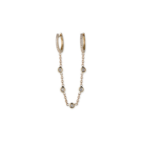 PAVE MINI HOOP + 5 DIAMOND CHAIN EARRINGS