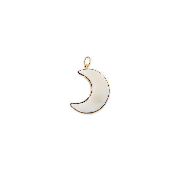 WHITE AGATE MOON CHARM