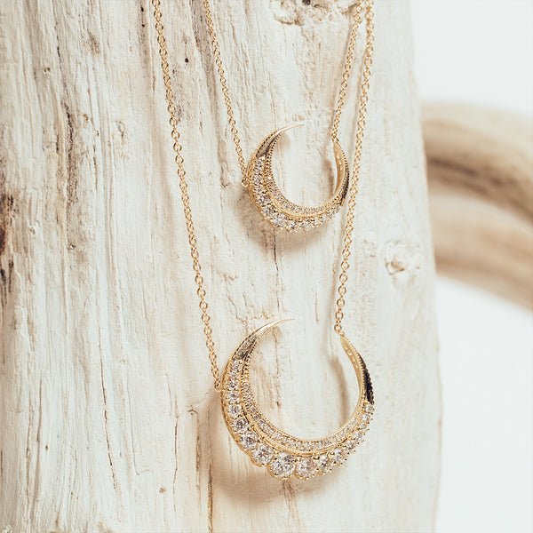 MINI DIAMOND CRESCENT MOON NECKLACE
