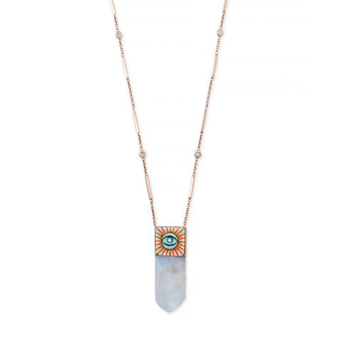 MOONSTONE INLAY EYE BURST CAP NECKLACE