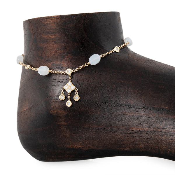 5 MOONSTONE BEAD DIAMOND KITE SHAKER ANKLET