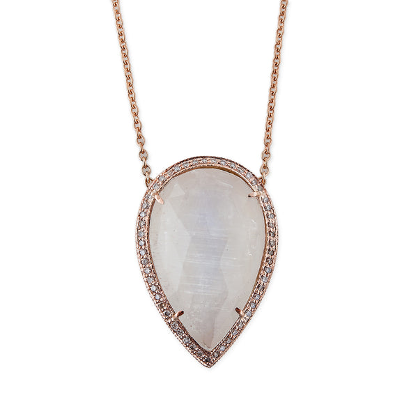 LARGE MOONSTONE PAVE DIAMOND TEARDROP NECKLACE