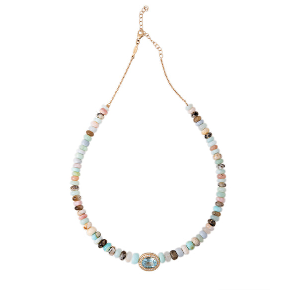 PAVE AQUAMARINE CENTER LIGHT MULTI BLUE OPAL BEADED NECKLACE