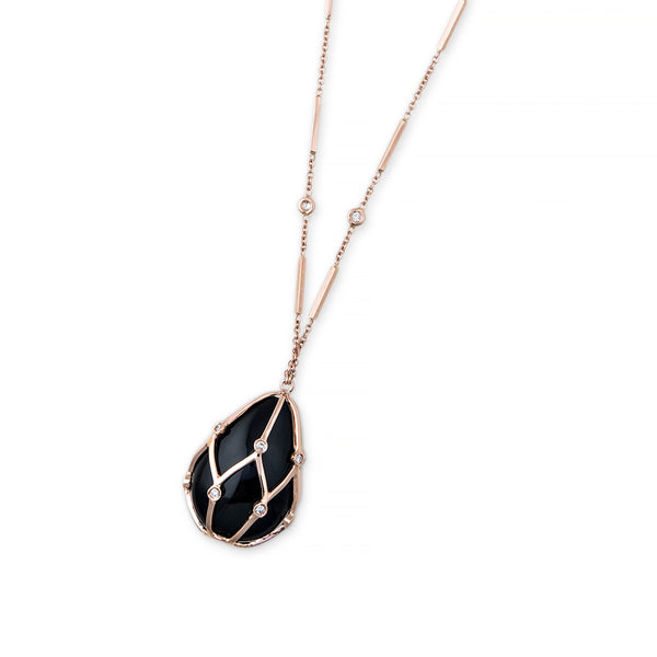 DIAMOND CAGED ONYX NECKLACE