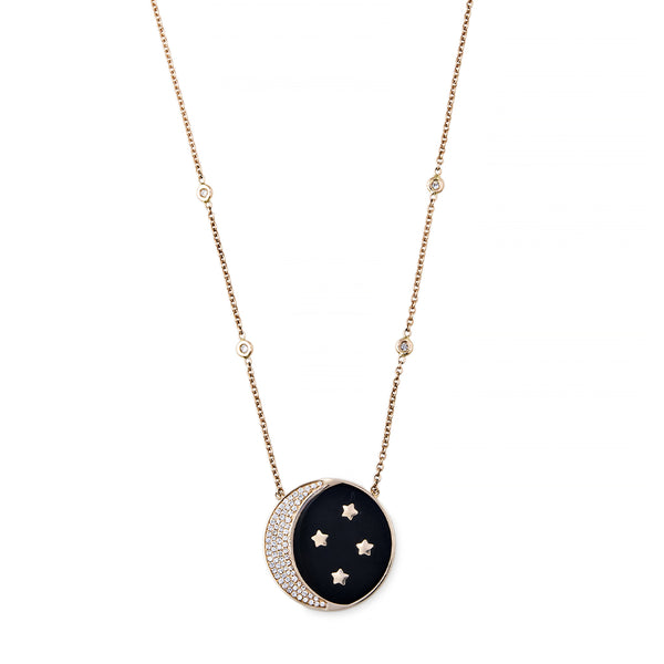 PAVE ONYX INLAY CRESCENT MOON + STAR NECKLACE