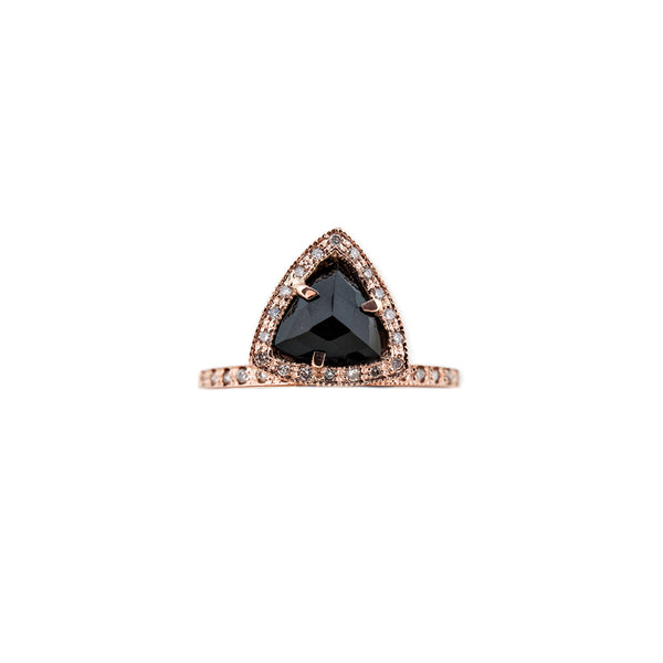 PAVE ONYX TRIANGLE RING
