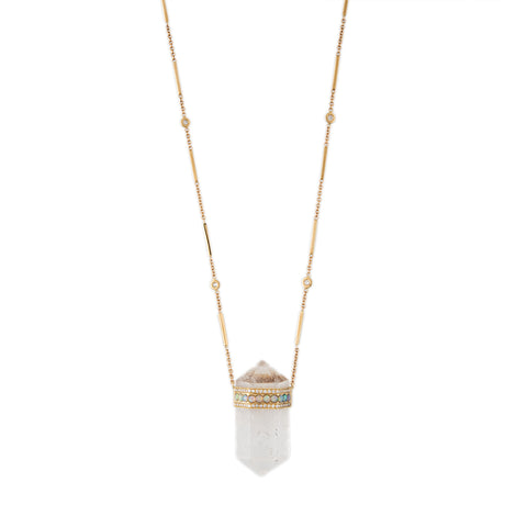 PAVE OPAL BEZEL CAP DOUBLE POINT CLEAR QUARTZ NECKLACE