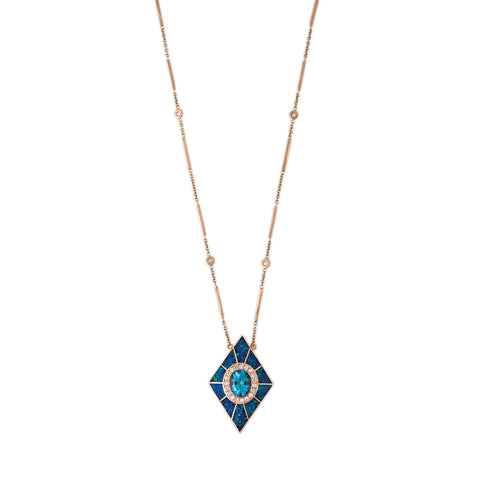 PAVE BLUE TOPAZ CENTER BLUE OPAL INLAY KITE NECKLACE