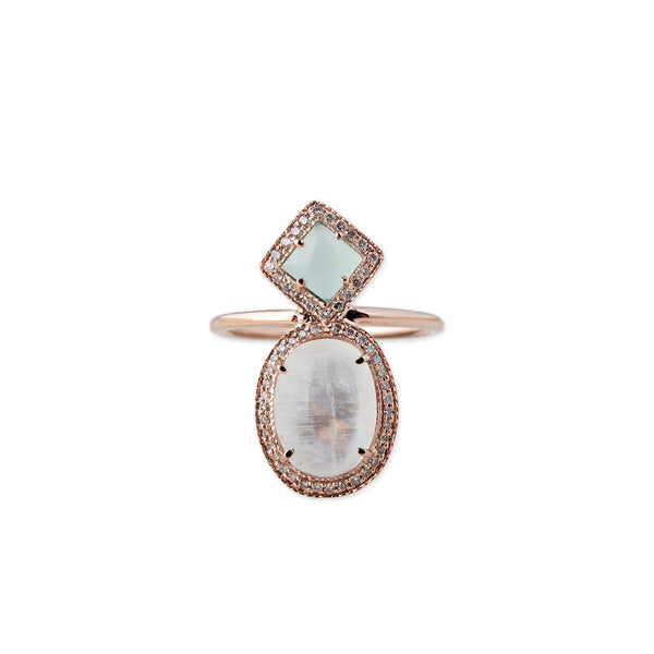 PAVE BLUE OPAL KITE + ROUND OPAL TRINITY RING