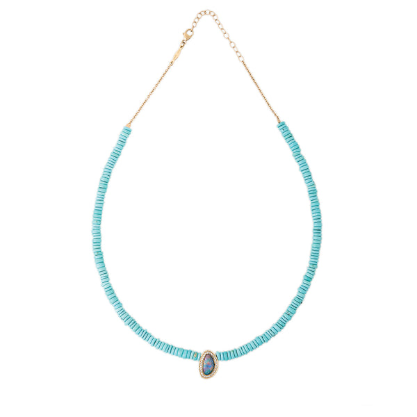 PAVE BLUE OPAL SLICE CENTER TURQUOISE HEISHI BEADED NECKLACE