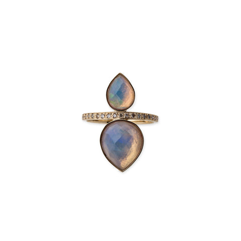 PAVE LARGE + SMALL WHITE OPAL TEARDROP RING