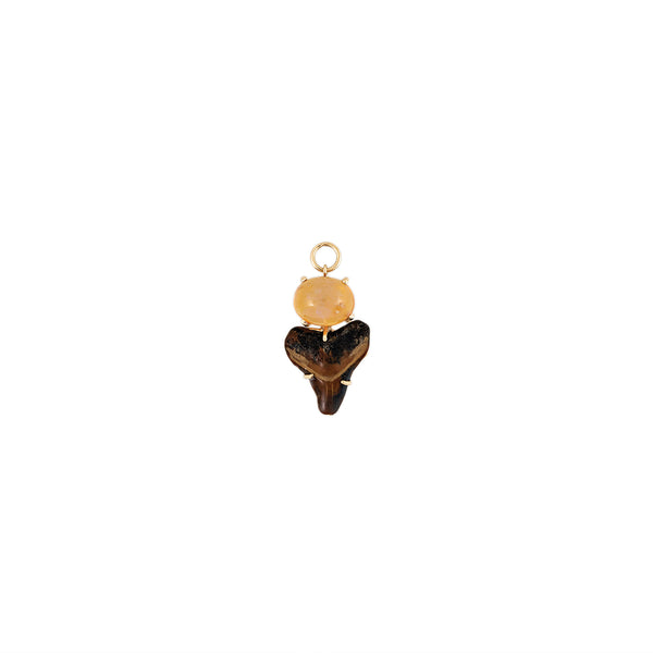 OVAL OPAL BROWN SHARK TOOTH CHARM