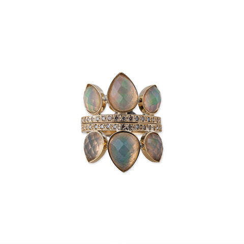 3 WHITE OPAL TEARDROP PETAL STACK RING