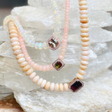 PAVE AQUAMARINE CENTER FACETED OPAL BEADED NECKLACE