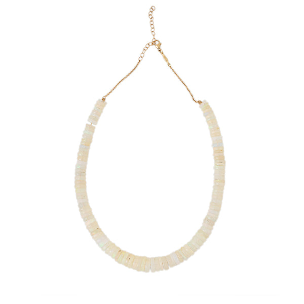 GRADUATED FACETED HEISHI OPAL BEADED NECKLACE
