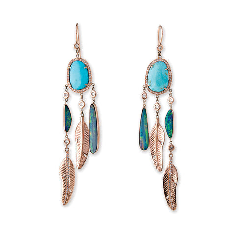 TURQUOISE OPAL SLICE PAVE DIAMOND FEATHER EARRINGS