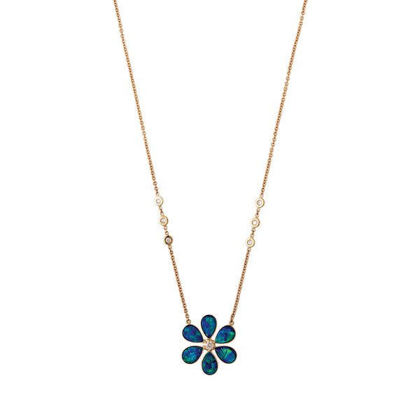 DIAMOND CENTER OPAL TEARDROP PETAL FLOWER NECKLACE