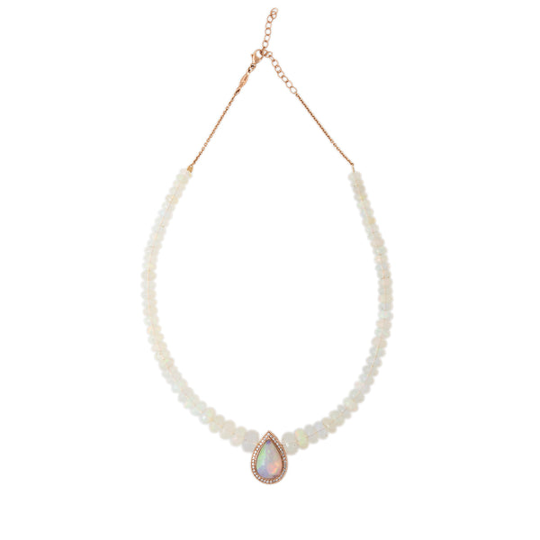PAVE OPAL TEARDROP CENTER OPAL BEADED NECKLACE