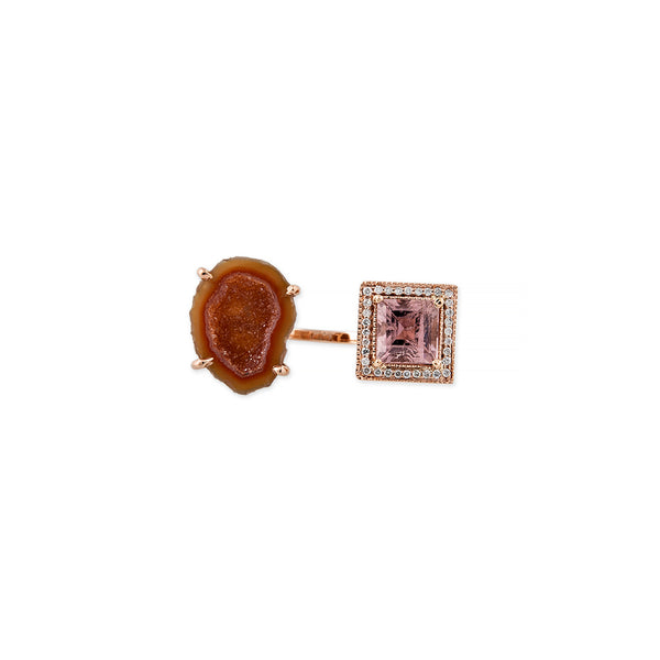 ORANGE GEODE PAVE DIAMOND SQUARE MORGANITE OPEN RING