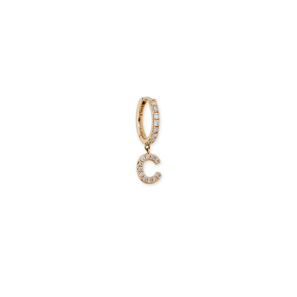 IN STOCK PAVE LETTER MINI HOOP