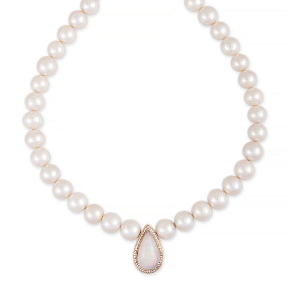 PAVE OPAL TEARDROP CENTER FRESHWATER PEARL BEADED NECKLACE