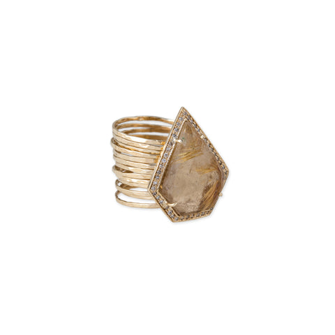 PENTAGON RUTILATED QUARTZ MULTI WAIF RING