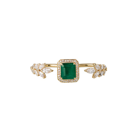 MARQUISE PETAL PAVE EMERALD CENTER KNUCKLE WRAP RING