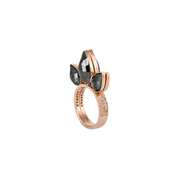 PYRITE 3 PETAL STACK RING