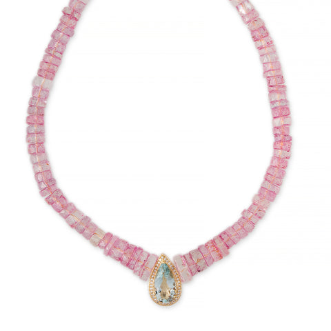 PAVE AQUAMARINE TEARDROP CENTER HEISHI PINK SAPPHIRE BEADED NECKLACE