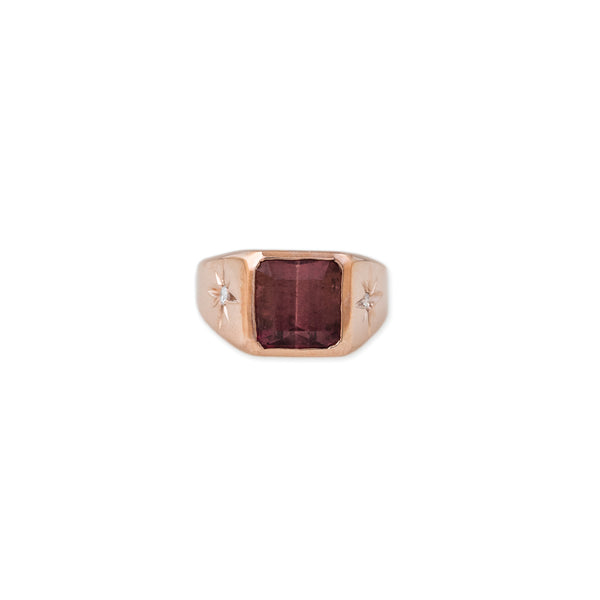 HOT PINK TOURMALINE SIGNET RING WITH PAVE BURST SIDES