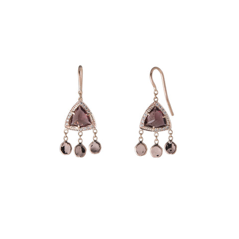 PINK TOURMALINE PYRAMID 3 DISC DROP EARRINGS