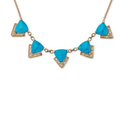 5 GEMSTONE PYRAMID + PAVE CHEVRON NECKLACE