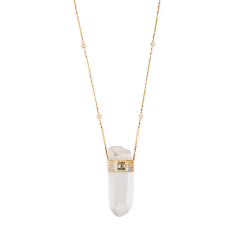 RAW DIAMOND CENTER CAP LONG CLEAR QUARTZ NECKLACE
