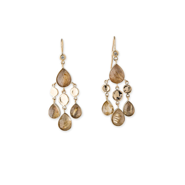 DIAMOND DISC 4 TEARDROP RUTILATED QUARTZ DROP EARRINGS