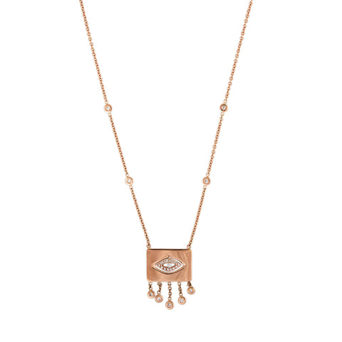 RECTANGLE OPEN PAVE EYE CENTER DIAMOND SHAKER NECKLACE