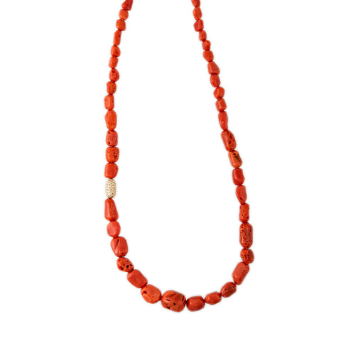 PAVE BEAD CORAL BEADED NECKLACE