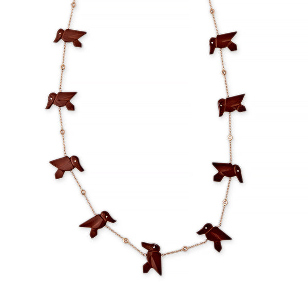 BROWN JASPER 15 HUMMINGBIRD NECKLACE